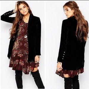 Free People Black Slouchy Velvet Blazer Jacket - L